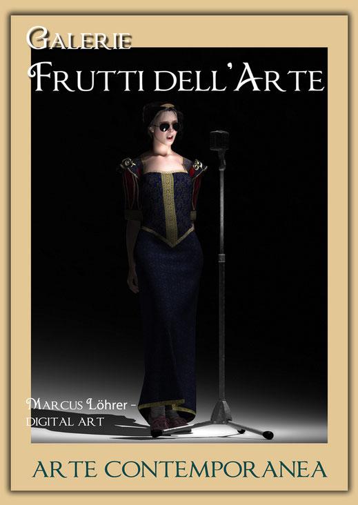 Kunst Mode Sängerin in der Galerie Frutti dell'Arte während der Aachener Kunstroute 2016 am 23., 24. und 25. September und in der Ausstellung Spektrum in der Aula Carolina