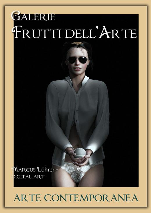Plakatdesigen Entwurf Portrait 2 für die Galerie Frutti dell'Arte auf der Aachener Kunstroute 2016