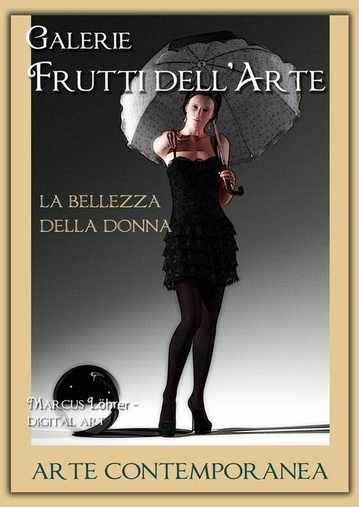 Plakatdesigen Entwurf Frau mit Schirm für die Galerie Frutti dell'Arte auf der Aachener Kunstroute 2016