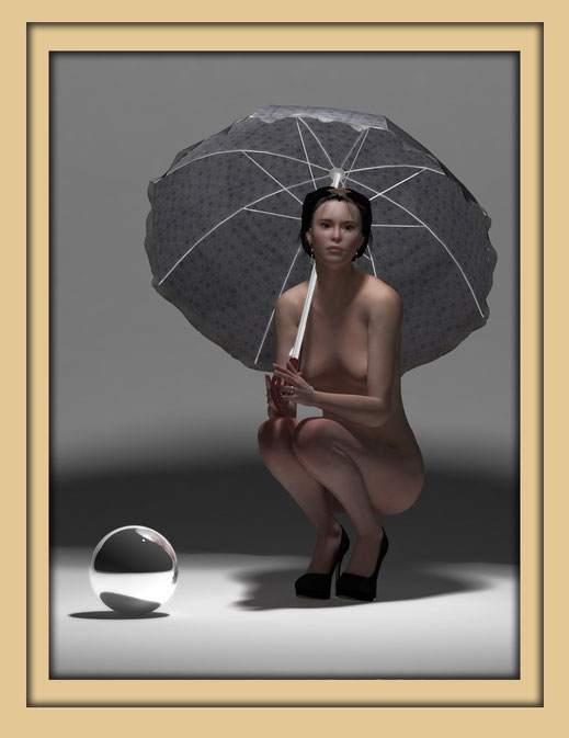 Akt mit Schirm monochrom 4 - Monochrome Aktbilder von Marcus Löhrer auf der Aachener Kunstroute 2016