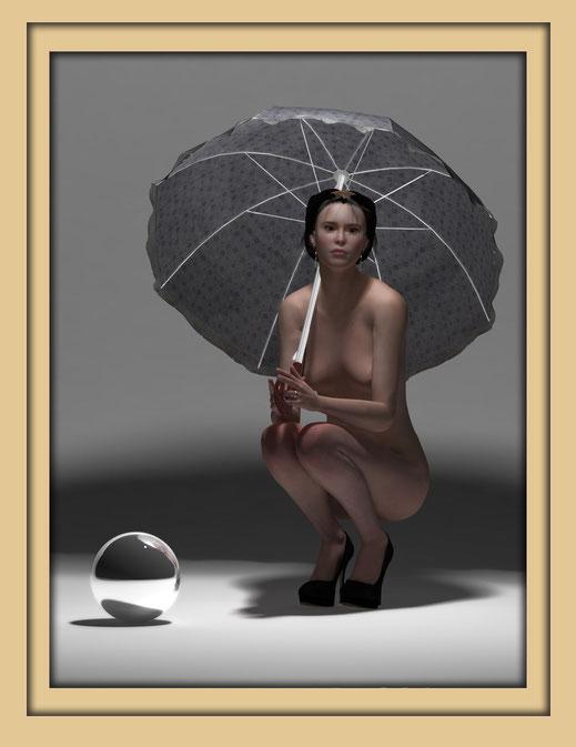 Akt mit Schirm monochrom 4 - Monochrome Aktbilder von Marcus Löhrer auf der Aachener Kunstroute 2019