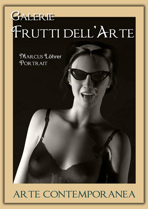Plakatdesigen Entwurf Portrait 7 für die Galerie Frutti dell'Arte auf der Aachener Kunstroute 2016