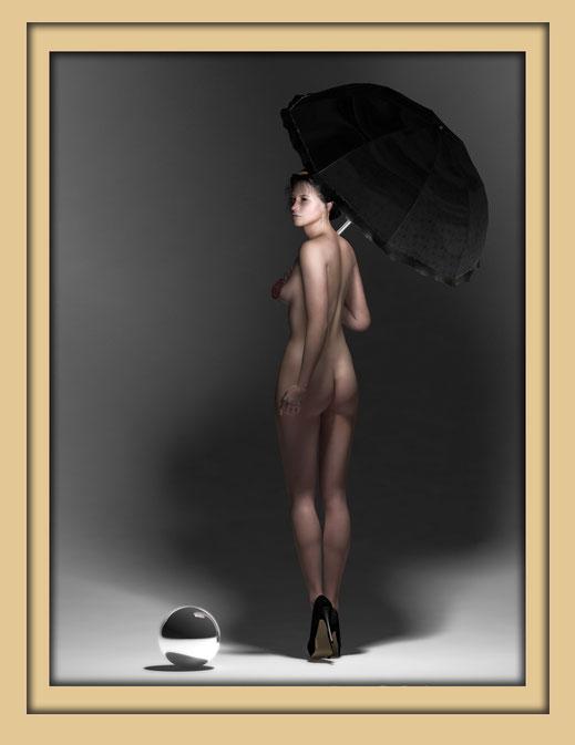 Akt mit Schirm monochrom 9 - Monochrome Aktbilder von Marcus Löhrer auf der Aachener Kunstroute 2016
