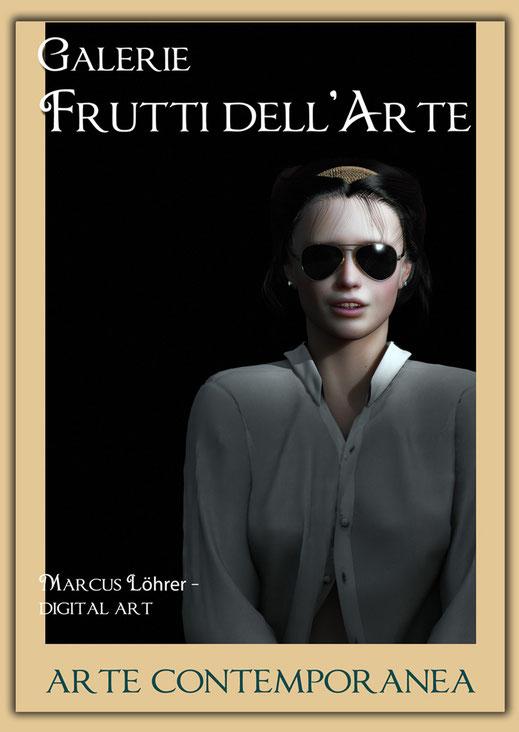 Plakatdesigen Entwurf Portrait 1 für die Galerie Frutti dell'Arte auf der Aachener Kunstroute 2016