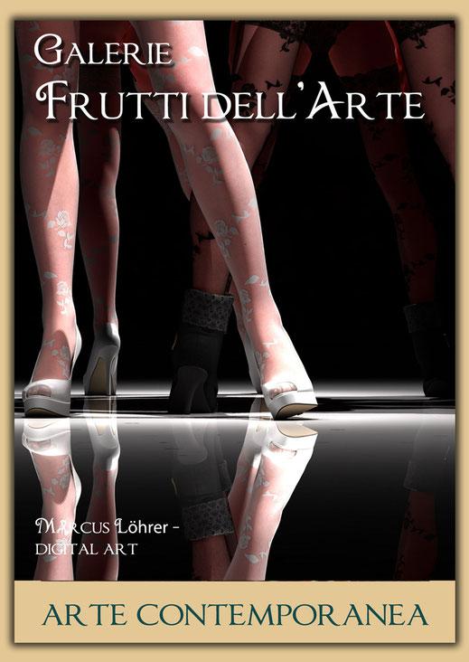 Plakatdesigen Entwurf Beine 1 für die Galerie Frutti dell'Arte auf der Aachener Kunstroute 2016