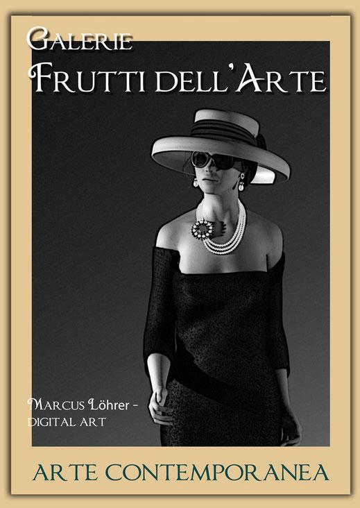 Plakatdesigen Entwurf Tiffani für die Galerie Frutti dell'Arte auf der Aachener Kunstroute 2016