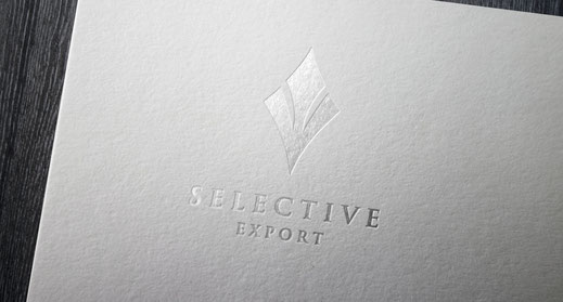 Selective Export logo, 3D effect. Symbol of high quality standards certification.