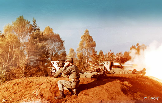 Tir MILAN (missile d'infanterie léger antichar NATO) à l'E.A.I. : départ du coup