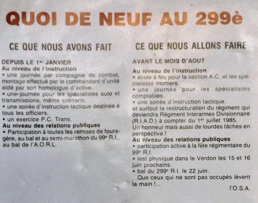 Double extrait du ''QUOI DE NEUF'' n° 66 ( 1er trimestre 1985- sans doute publié fin avril)