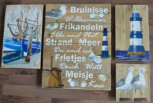 4 maritime Bilder mit Begriffen, Kutter,Möwen, Mühle und Leuchtturm
