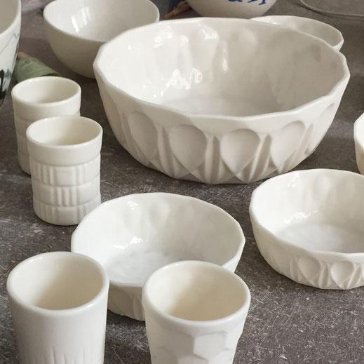 Pièces en porcelaines. Brigitte Morel