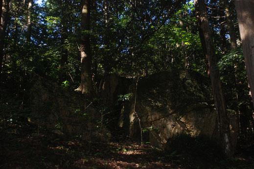 正面から見た本殿奥の大岩