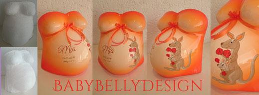 Gipsabdruck vom Babybauch, Babybauchabdruck, Überarbeitung, Oberflächenglättung, Veredelung, Gestaltung, Bemalung, Ornament, Schnörkel, Babyfoto