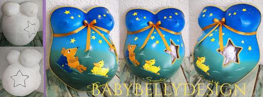 Gipsabdruck vom Babybauch, Babybauchabdruck, Überarbeitung, Oberflächenglättung, Veredelung, Gestaltung, Bemalung, Blumenranke, Ornament, pink