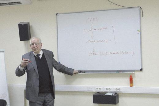 2013 год. Владимир Шкунденков выступает на семинаре в НИЯУ МИФИ с обсуждением идеи создания International Research IT Universities Centre