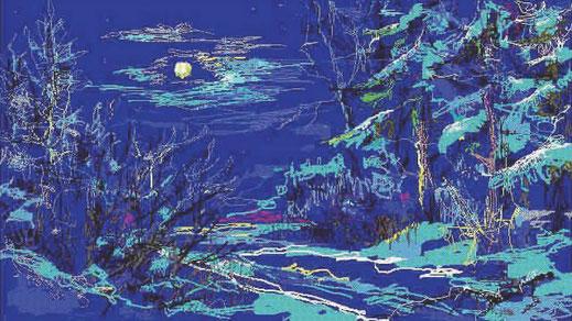 Лунная ночь - компьютерная живопись