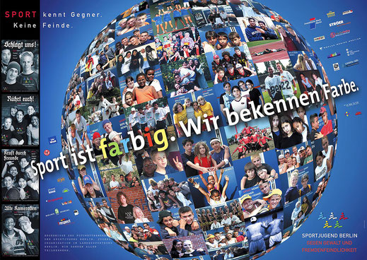Plakat mit Weltkugel, Photoshopmontage