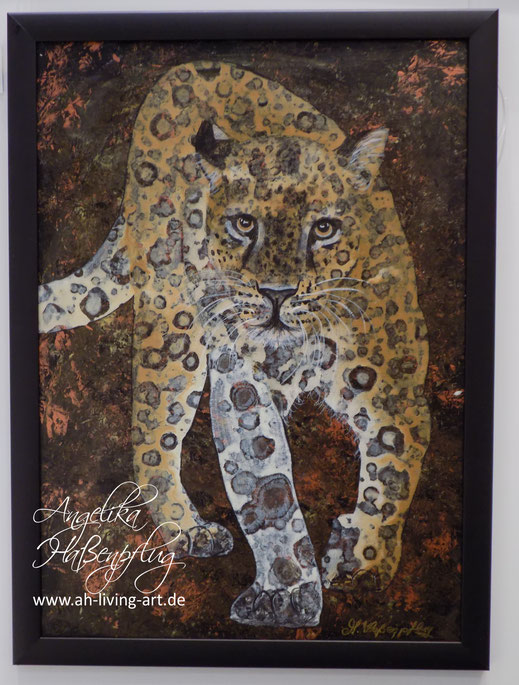 Angelika Haßenfplug, Living Art, Portrait, Tiere, Abstrakt , Malerei , Painting, Animals, Leopard