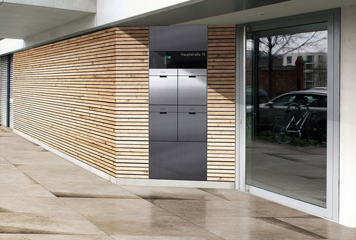 Entry Außenstation in Edelstahl zur Türkommunikation, Beschilderung und mit Briefkästen
