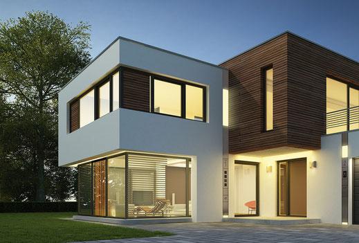 Entry in Aluminium für alle Funktionen am Eingang eines Wohnhauses