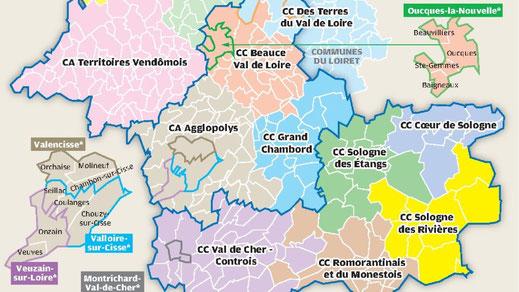 source : NR41 -La loi NOTRe redessine la carte du département