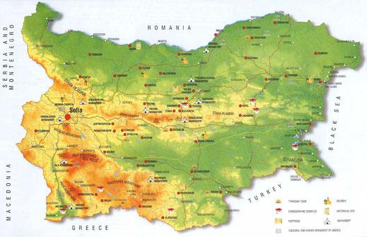 carte relief bulgarie