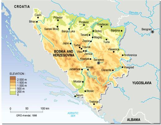 carte bosnie relief