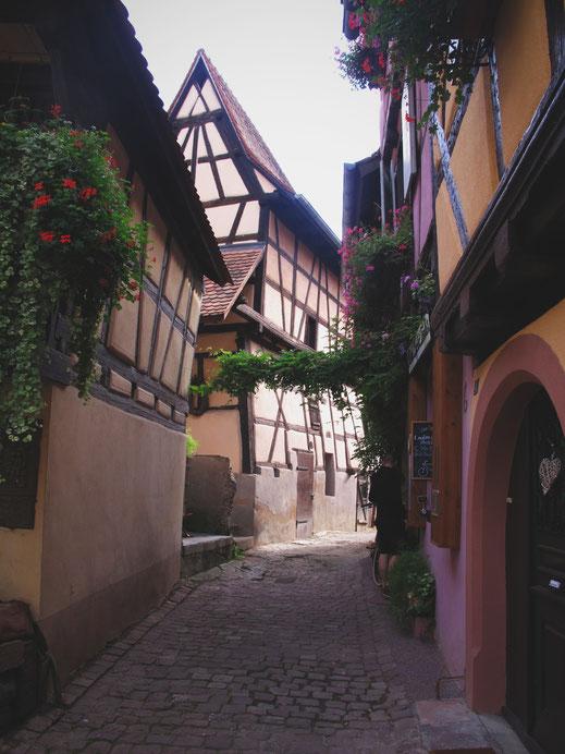 eguisheim ruelles france pavés maison couleur