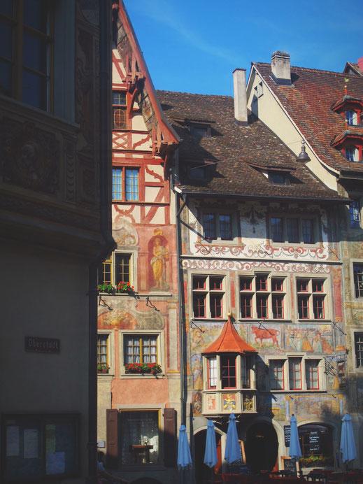 rhin bigousteppes suisse stein village fresque peintures maison couleurs