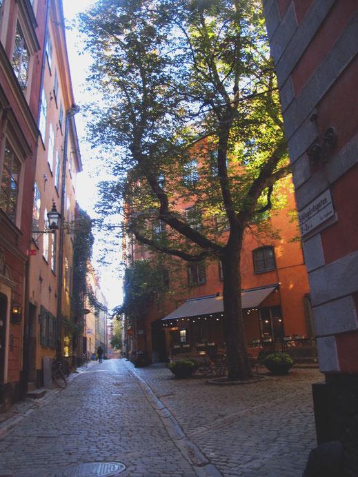 bigousteppes suède stockholm ruelles couleur rouge jaune orange pavé