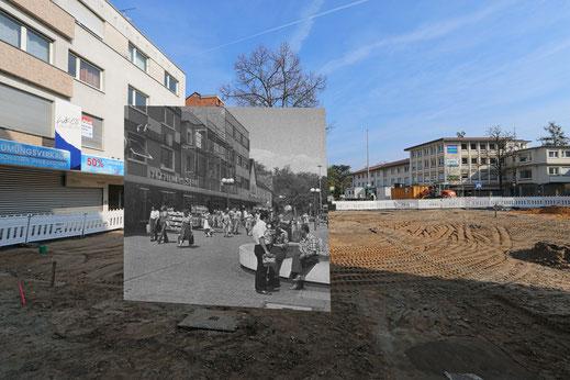 Der Friedensplatz - in den 80er Jahren und während des Umaus für den Hessentag 2016