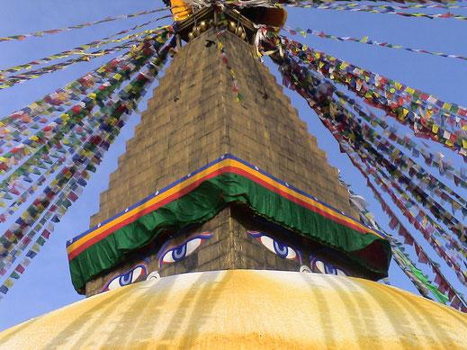 Le Stupa de Bodhanath fréquenté par des Tibétains.