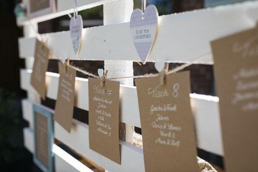 DIY Hochzeit Sitzplan Europalette