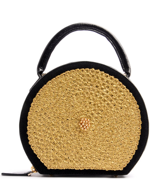OSTWALD CIRCLE .  TOTE black . gold Leatherbag in cooperation with Niely Hoetsch