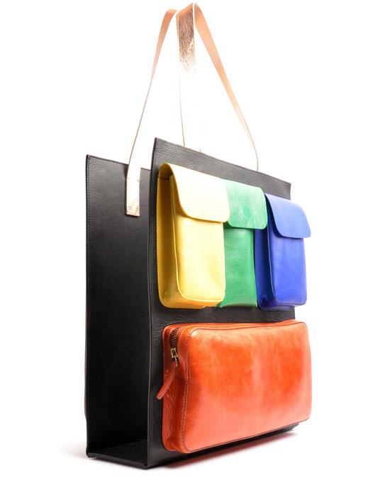 OSTWALD Bags . CARRY ON . Reversible Bag . Tote large . Leather bag in multicolor . leather bag .  Shop online . Statement Bag.  Everyday Bag . Webshop