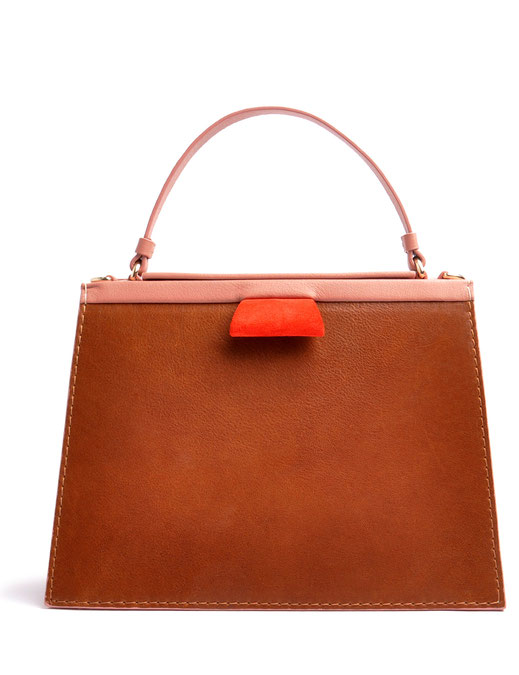 OSTWALD Bags . Finest Couture . Handcrafted Leahterbag . Tote . Brown . rose . red
