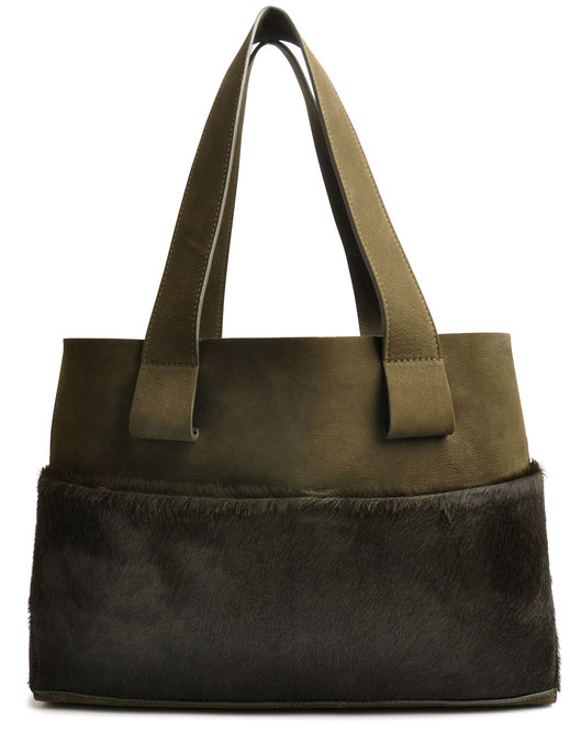 OSTWALD Bags . Shopper . olive . leather and calf fur. olive Shop online . everyday bag .  Webshop
