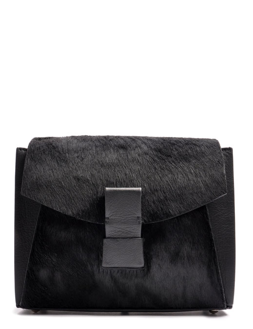 OSTWALD Bags . Finest Couture . Handcrafted Leatherbag . Fur .  Shoulder bag . Glide Loop . colour black