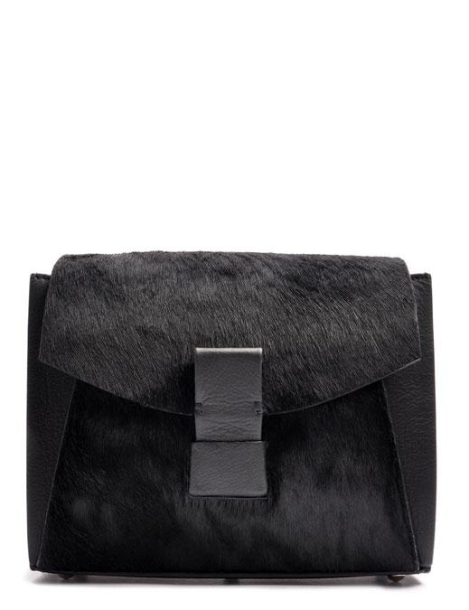OSTWALD Bags . Finest Couture . Handcrafted Leatherbag . Fur .  Shoulder bag . Glide Loop . colour black