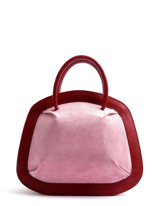 OSTWALD Bags . Finest Couture . Handcrafted Leatherbag . Organic Tote SMALL . Bubble . colour bordeaux rose