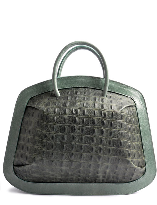 OSTWALD Bags . Finest Couture . Handcrafted Leatherbag . Tote . Bubble . colour green croco embossment