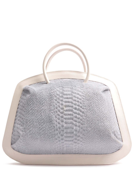 OSTWALD Bags . BUBLE . Tote bag . Icon Bag in light grey.  leather bag . Shop online . Statement Bag .  Webshop