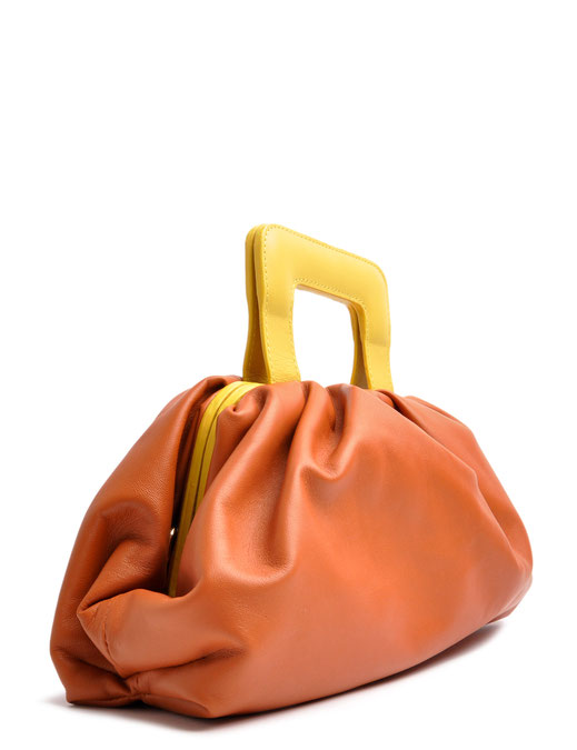 OSTWALD Bags . Finest Couture . Handcrafted Leatherbag . Clutch . Smooth Clutch . colour cognac & yellow