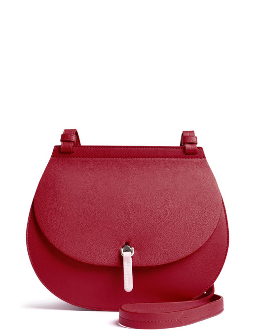 OSTWALD Bags . Finest Couture . Handcrafted Leatherbag . Saddle . Shoulder bag . colour taupe . bordeaux . rose