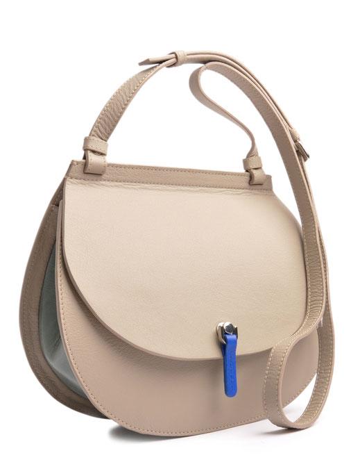 OSTWALD Bags . Finest Couture . Handcrafted Leatherbag . Saddle Shoulderbag . Leatherbag in grey . blue . green . Shoulderbag multicolor . Slowfashion