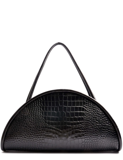 OSTWALD Bags . CALZONE . Tote bag . Icon Bag . black leather Shoulder bag. Shop online . Statement Bag .  embossed croc bag. Webshop