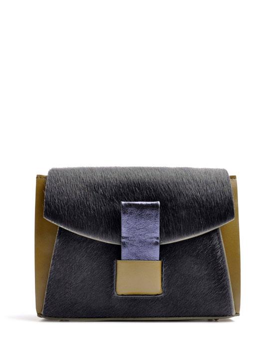 OSTWALD Bags . GLIDE . Shoulder bag  . Leather bag in multicolor . olive and blue leather bag . Shop online . Websho