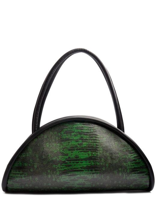 OSTWALD Bags . CALZONE . Tote bag . Icon Bag.  Shoulder bag . leather green and black. Shop online . Statement Bag .  embossed Lizard bag. Webshop