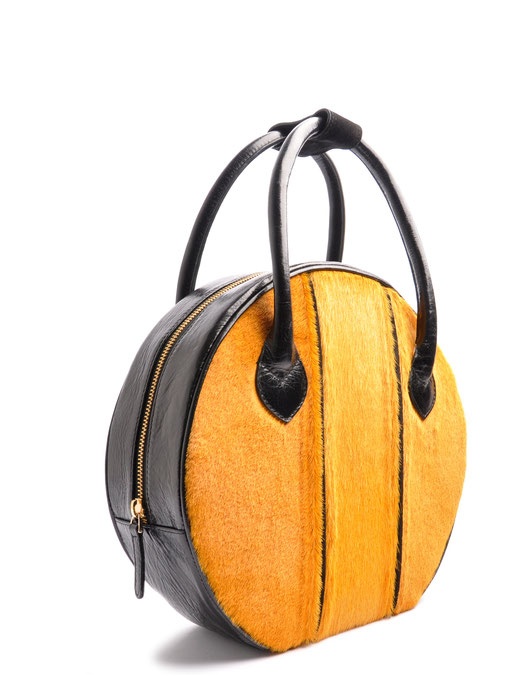 OSTWALD Bags . Finest Couture . Handcrafted Leahterbag . Tote . black . yellow