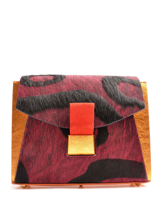 OSTWALD Bags . Glide Shoulderbag . Leather . multicolour . copper and red